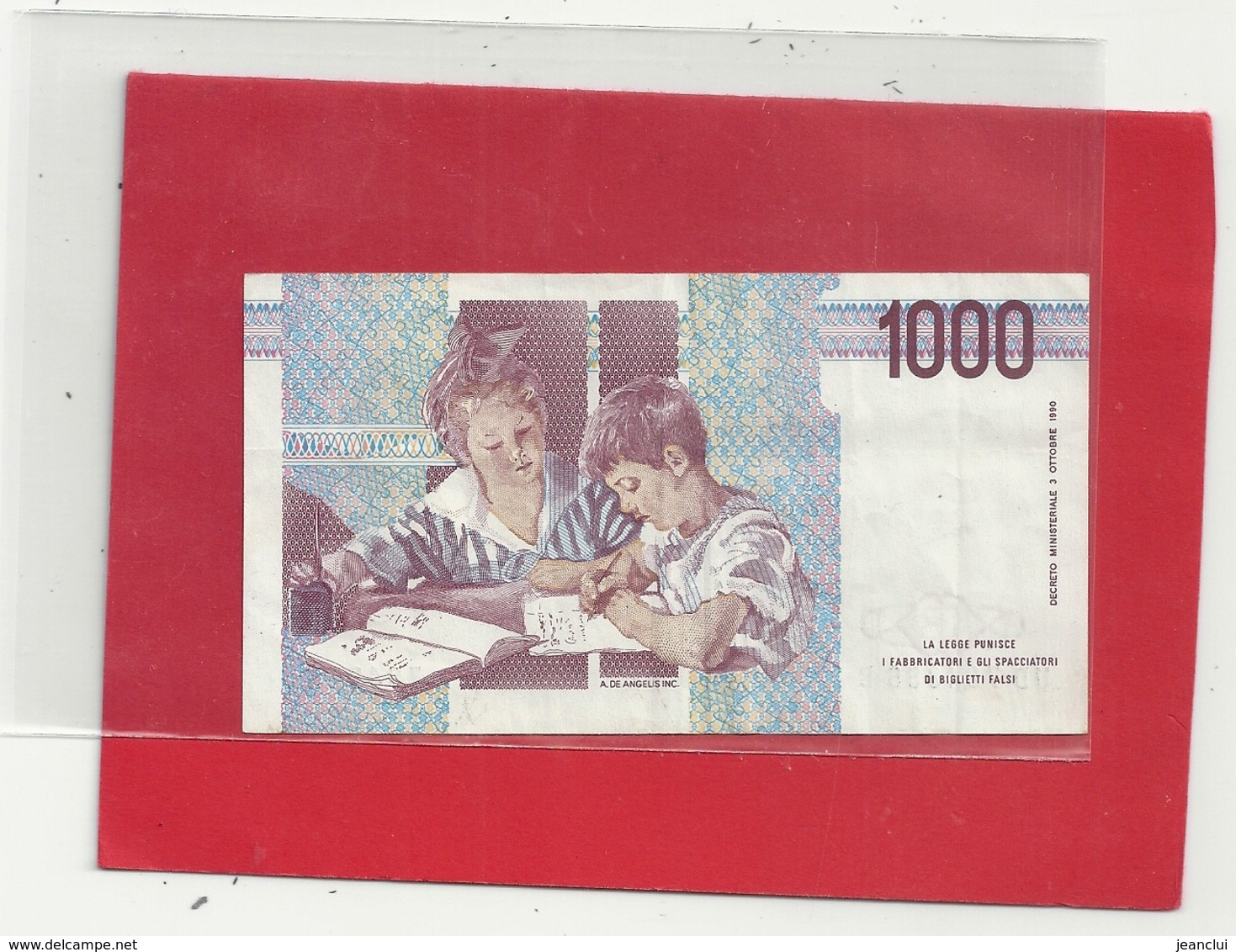 BANCA D'ITALIA . 1.000 LIRE . M. MONTESSORI . 3-10-1990 N° UD 704866 B   . 2 SCANES - 1000 Lire
