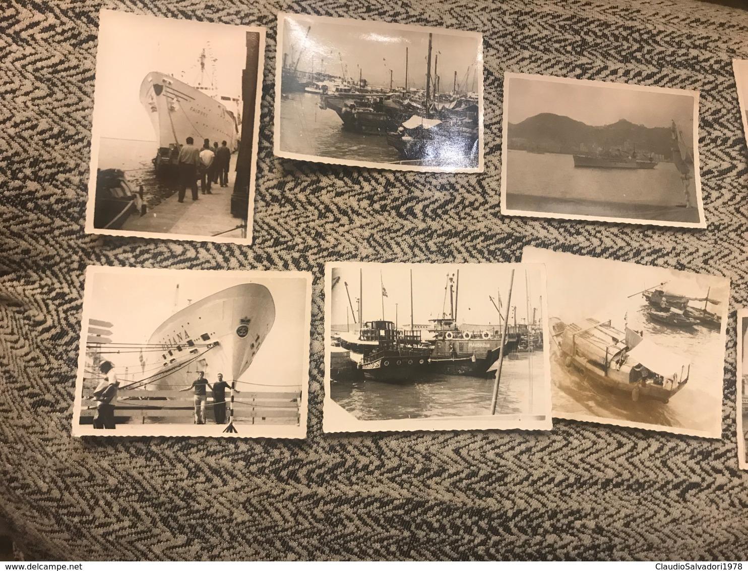 Lotto Nove Fotografie Porto Di Hong Kong Navi Chiatte Oriana Fairsky  Anni 60 - Barche