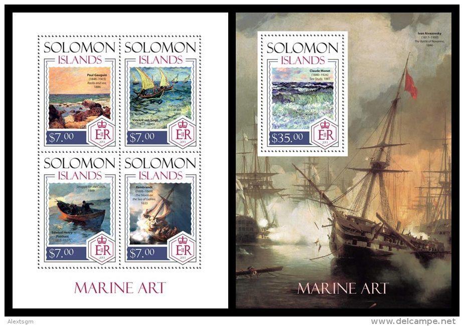SOLOMON Isl. 2014 - Marine Art: Gaugin, Van Gogh, Monet - YT 2124-7 + BF282; CV=27 € - Impressionisme