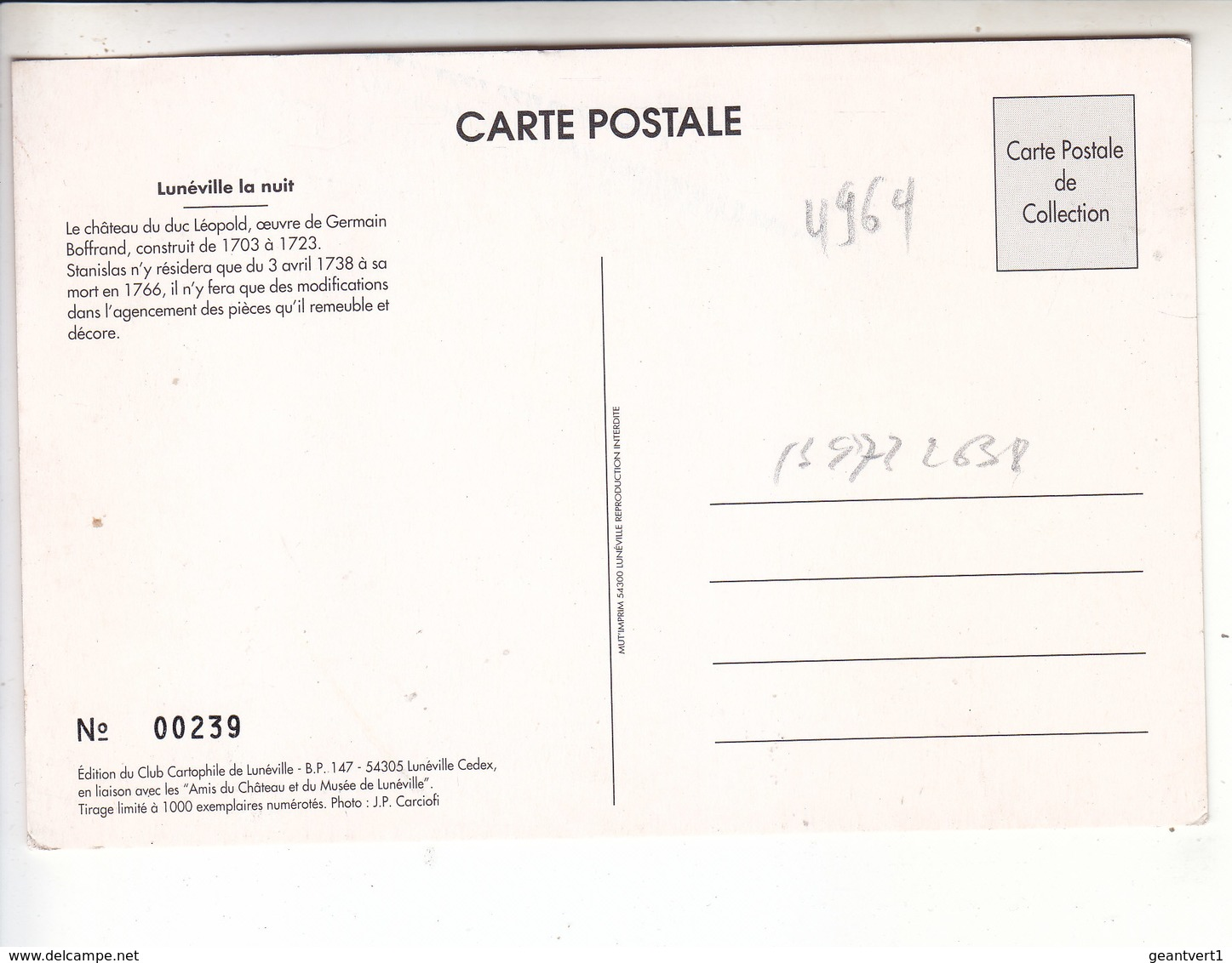 SP- 54 - LUNEVILLE - Chateau - La Nuit - Luneville