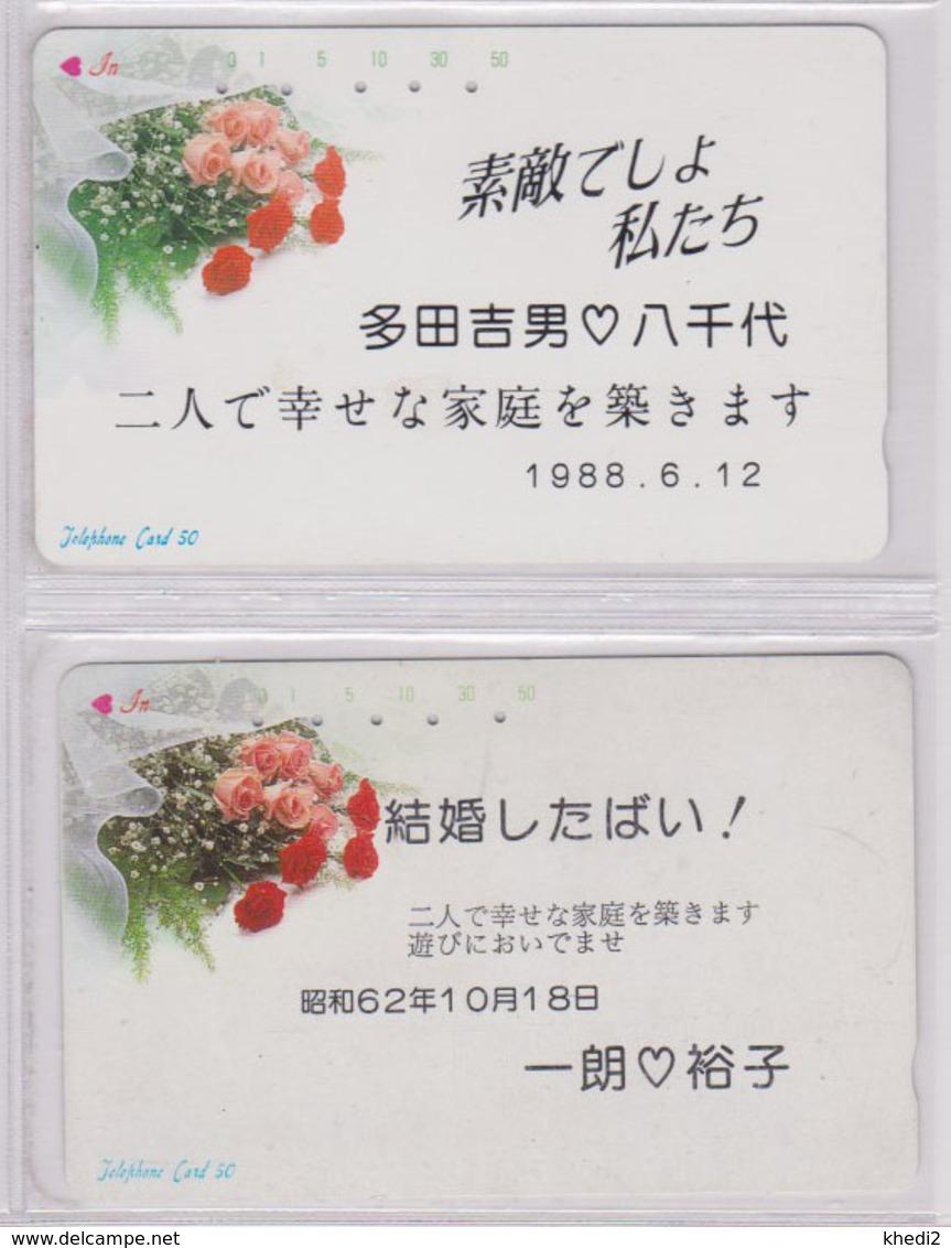 LOT De 2 Télécartes Japon / MD 110-27 - FLEUR - ROSE - FLOWER Japan Phonecards * NTT * -  2448 - Fleurs