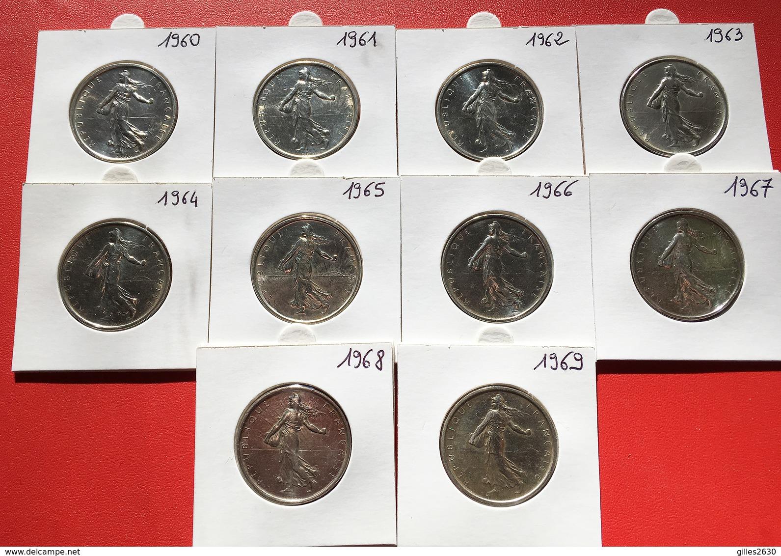 Superbe Série De 10 X 5 Francs Semeuse Argent 1960 à 1969 - France