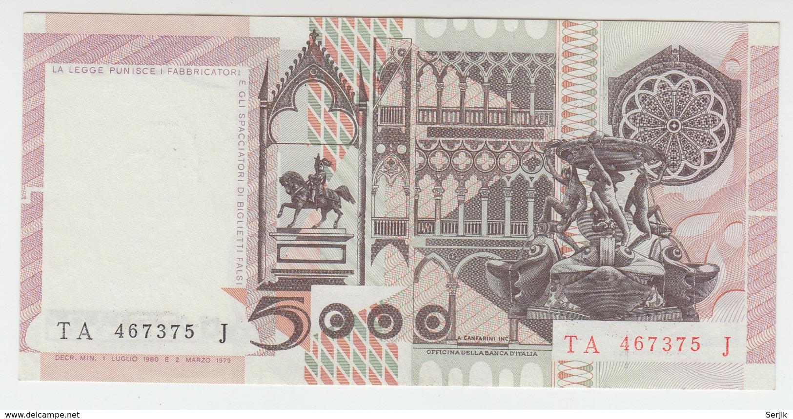 Italy 5000 Lire 1980 UNC NEUF Pick 105b  105 B - [ 2] 1946-… : Repubblica