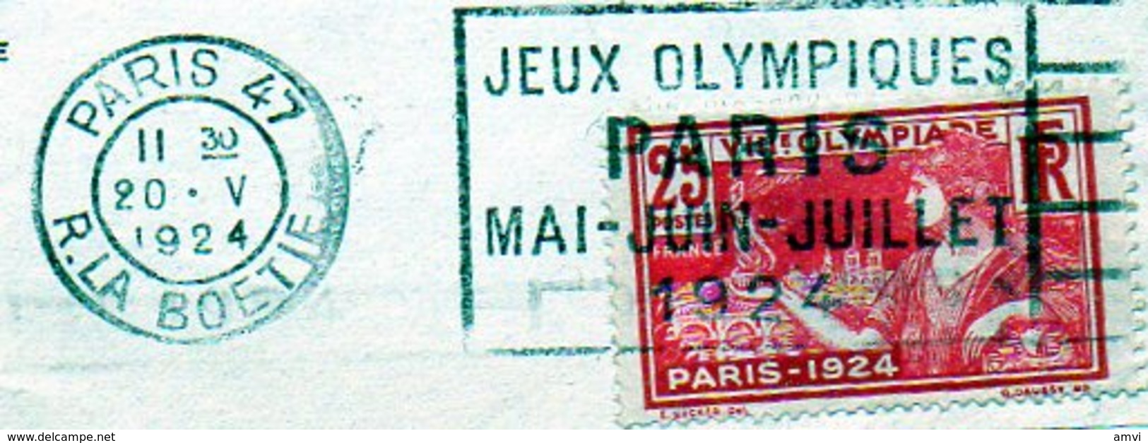 B01 - LOT De 6 FRAGMENTS Avec OBLITERATION MECANIQUE JEUX OLYMPIQUES 1924 - Marcophilie (Timbres Détachés)