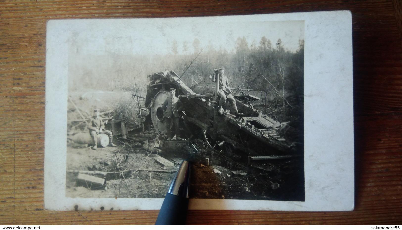 Cpa Batterie Canon  Zacharias Meuse Azannes Près Verdun  Soldats Allemands Obus - Guerre 1914-18