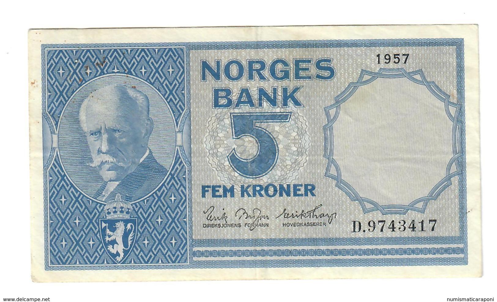 Norvegia Norges Bank 5 Kroner 1957 LOTTO 566 - Norvegia