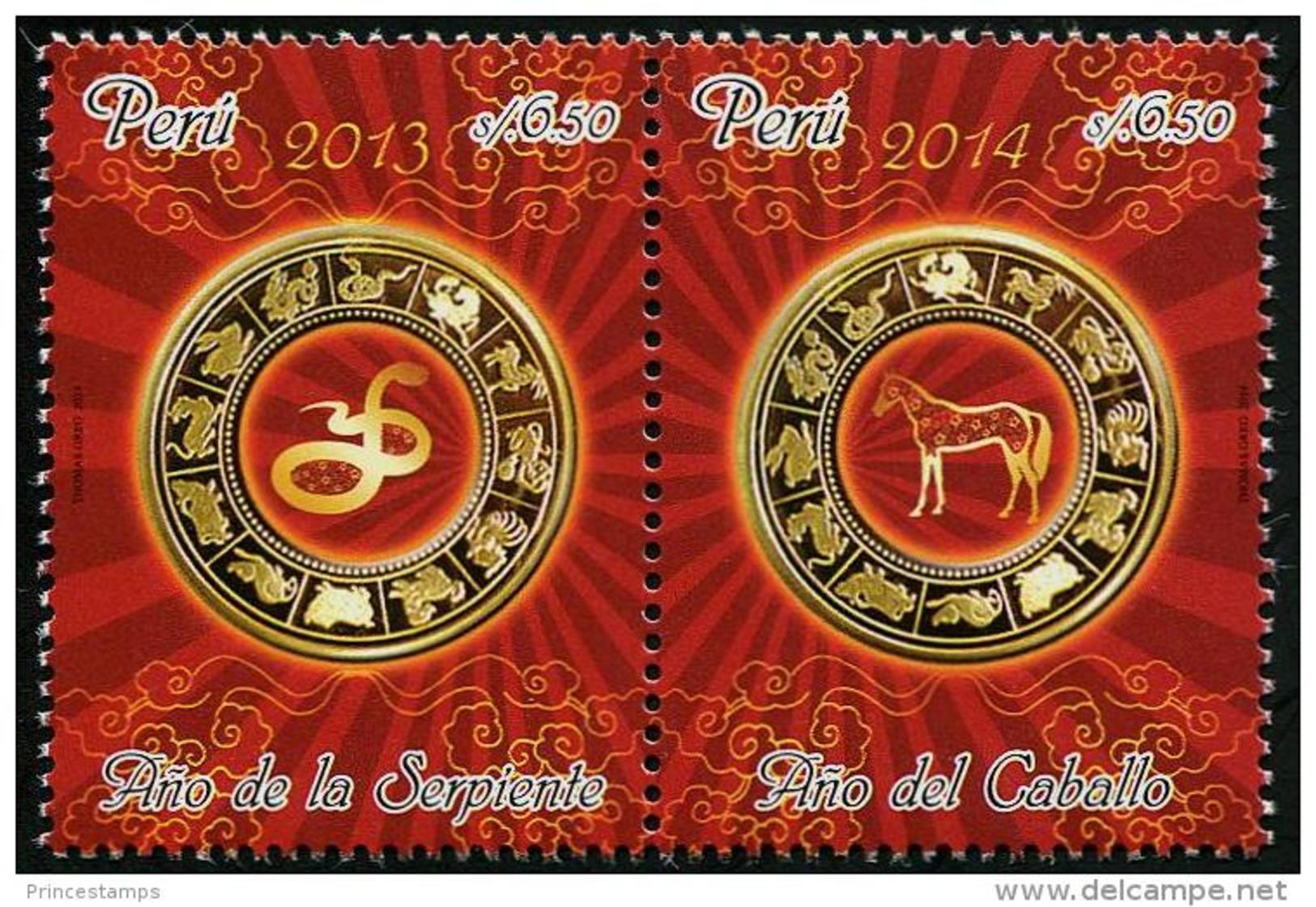 Peru (2014) - Set -  /  Horse - Cheval - Pferde - Snake - Serpent - Chinese New Year - Chinees Nieuwjaar