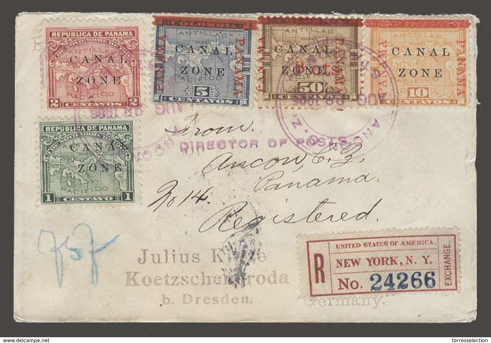 PANAMA. 1905 (28 Aug). Canalzone. Ancona - Germany (20 Sept). Reg Pentafkd Mixed Issues. Fine. Via NY. - Panama