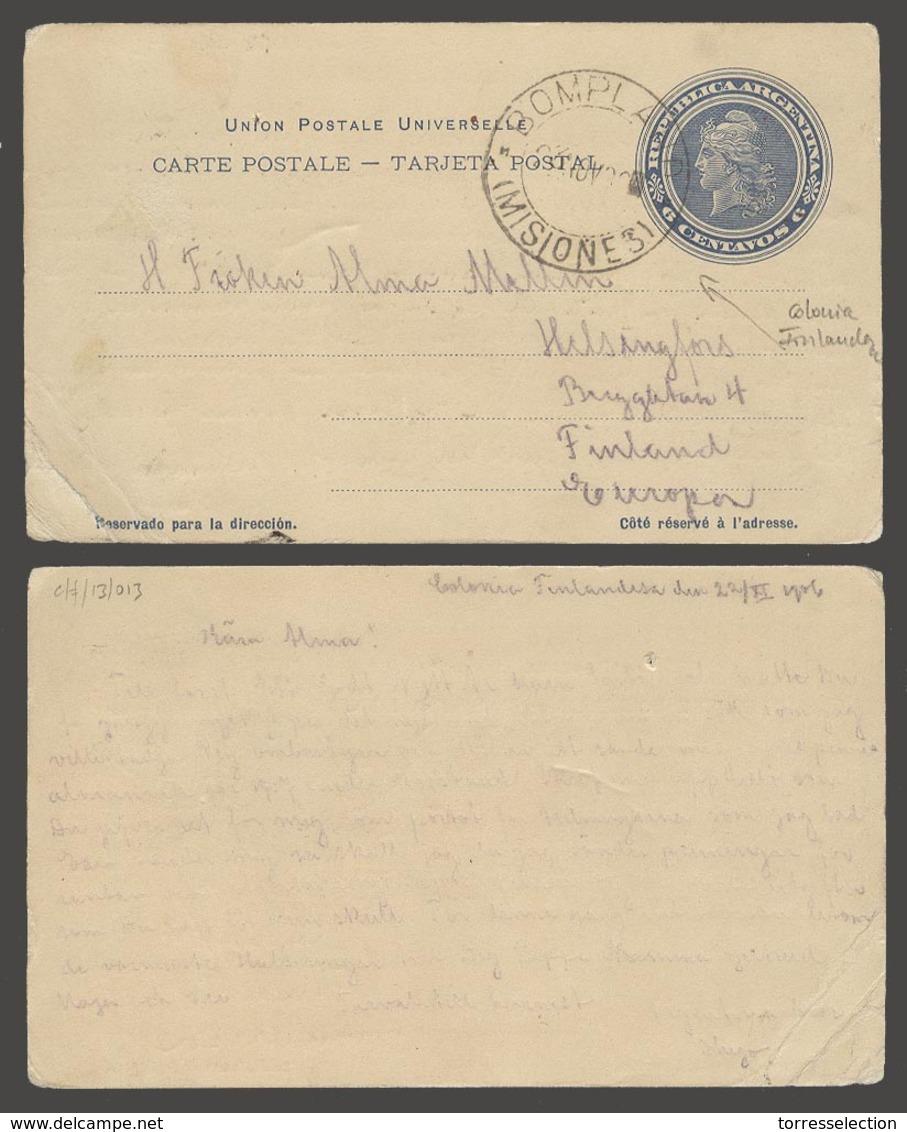 Argentina - Stationery. 1906 (22 Nov). Colonia Finlandesa / Bompland / Misiones - Finland. 6c Blue Stat Card. Exceptiona - Argentina