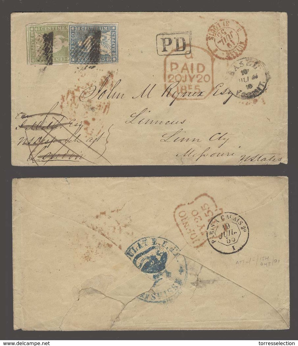 SWITZERLAND. 1855 (18 July). Diplomatic Mail Transatlantic Crossing. Basel To USA / Linneus / Missouri. Env Fkd Sitzende - Switzerland