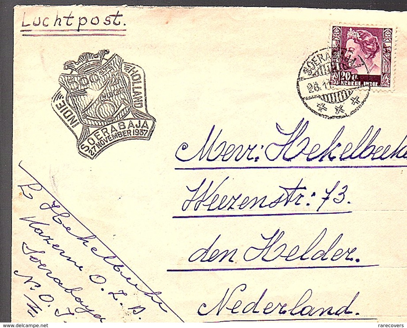 1937 Soerabaja Kazerne O.Z.A. > Hekelbeeke Weezenstraat 73 Den HeLder (272) - Indes Néerlandaises