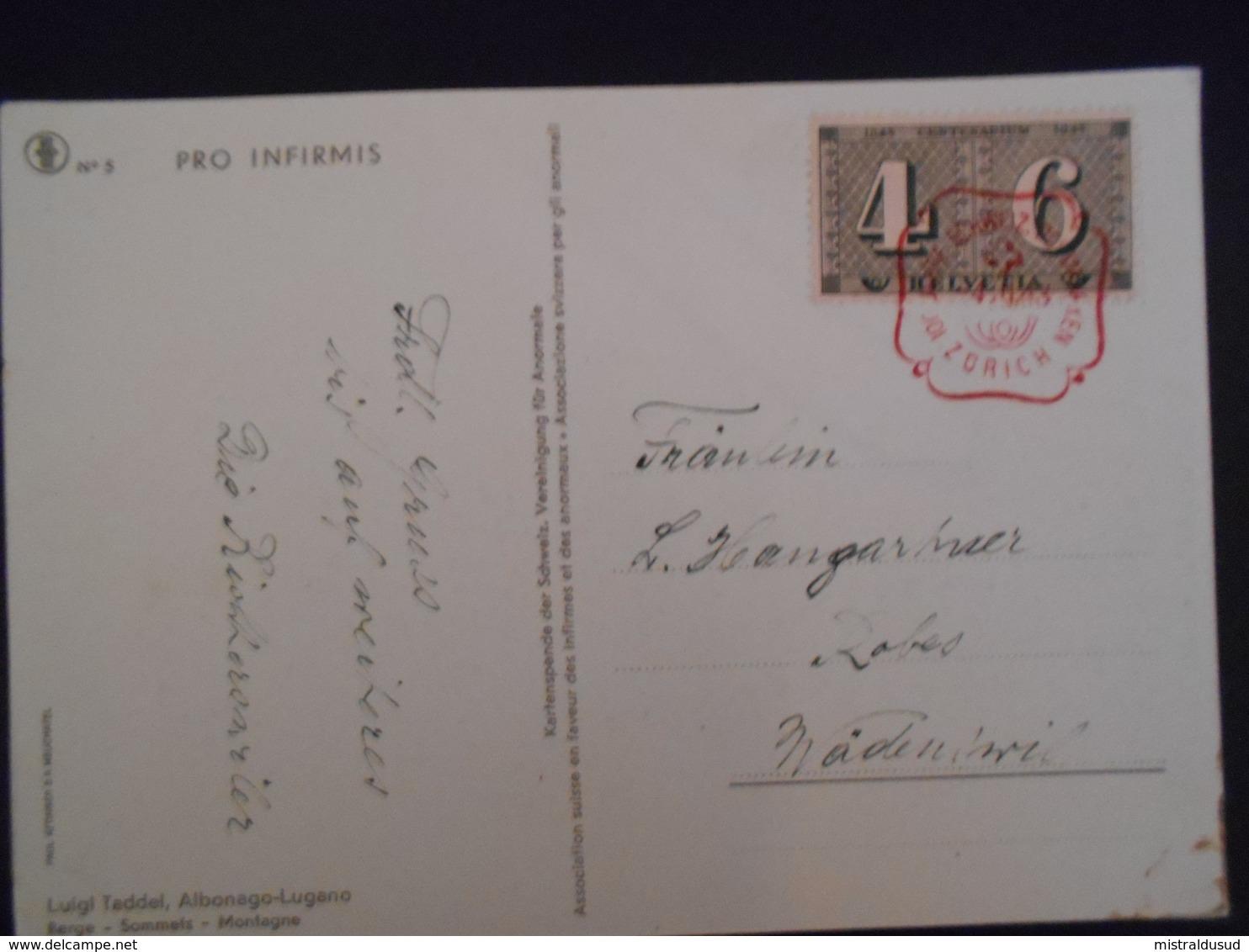 Suisse Carte De Zurich 1943 , Joli Obliteration Rouge - Switzerland