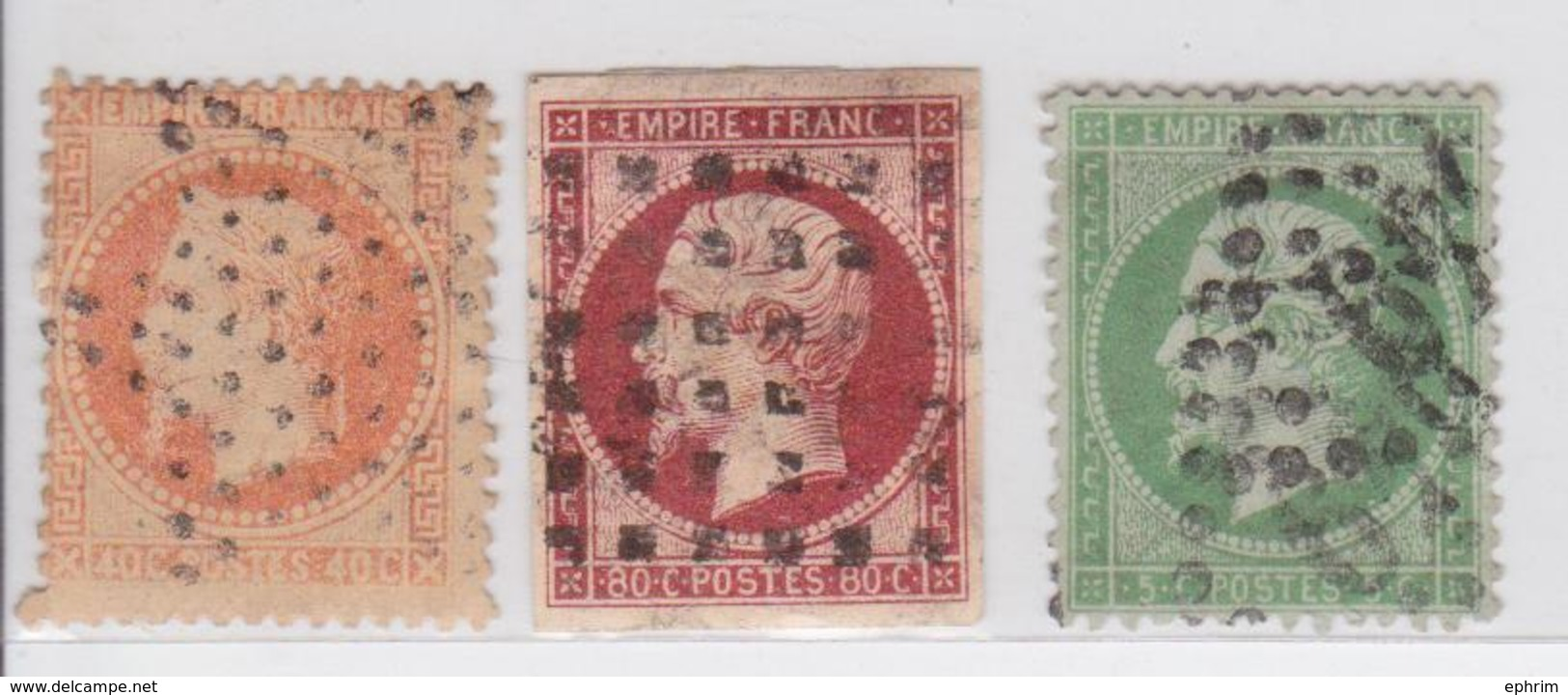 Timbre Napoléon III Lot De 3 Timbres Dont 80 Centimes Rose Avec Beau Quadrillage - 1862 Napoleon III