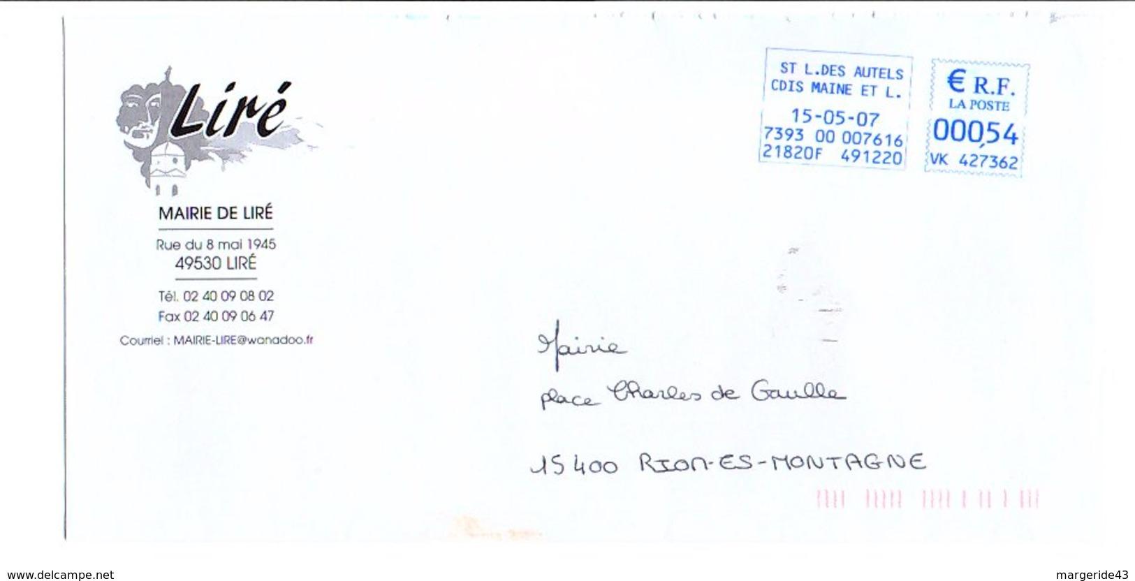 LETTRE DE MAIRIE DE LIRé MAINE ET LOIRE - Postmark Collection (Covers)
