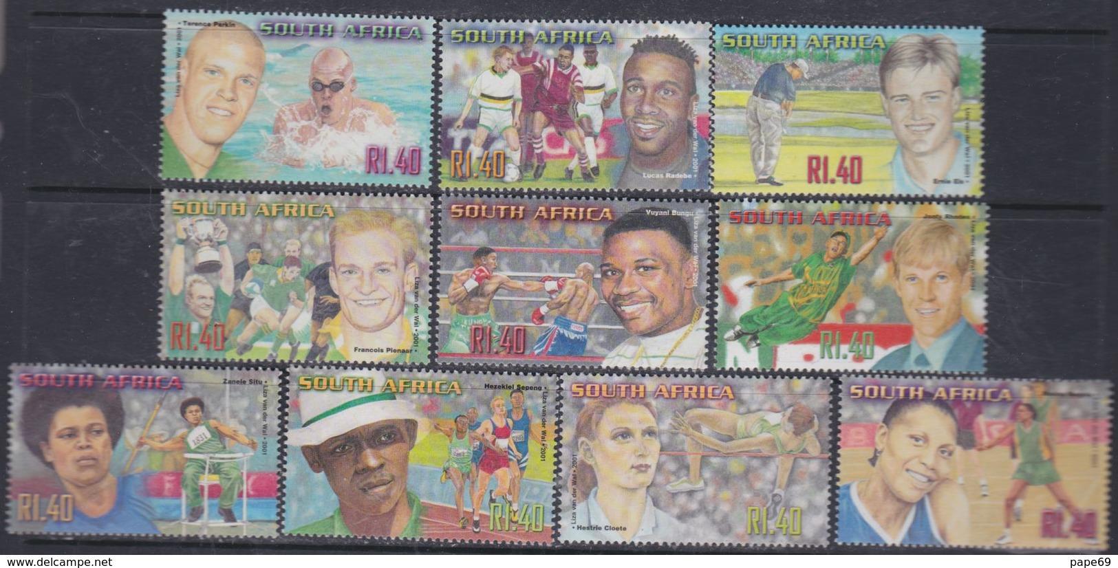 Afrique Du Sud  N° 1133 / 42  XX  : Grands Sportifs Sud-africains, Les 10 Valeurs Sans Charnière, TB - Afrique Du Sud (1961-...)