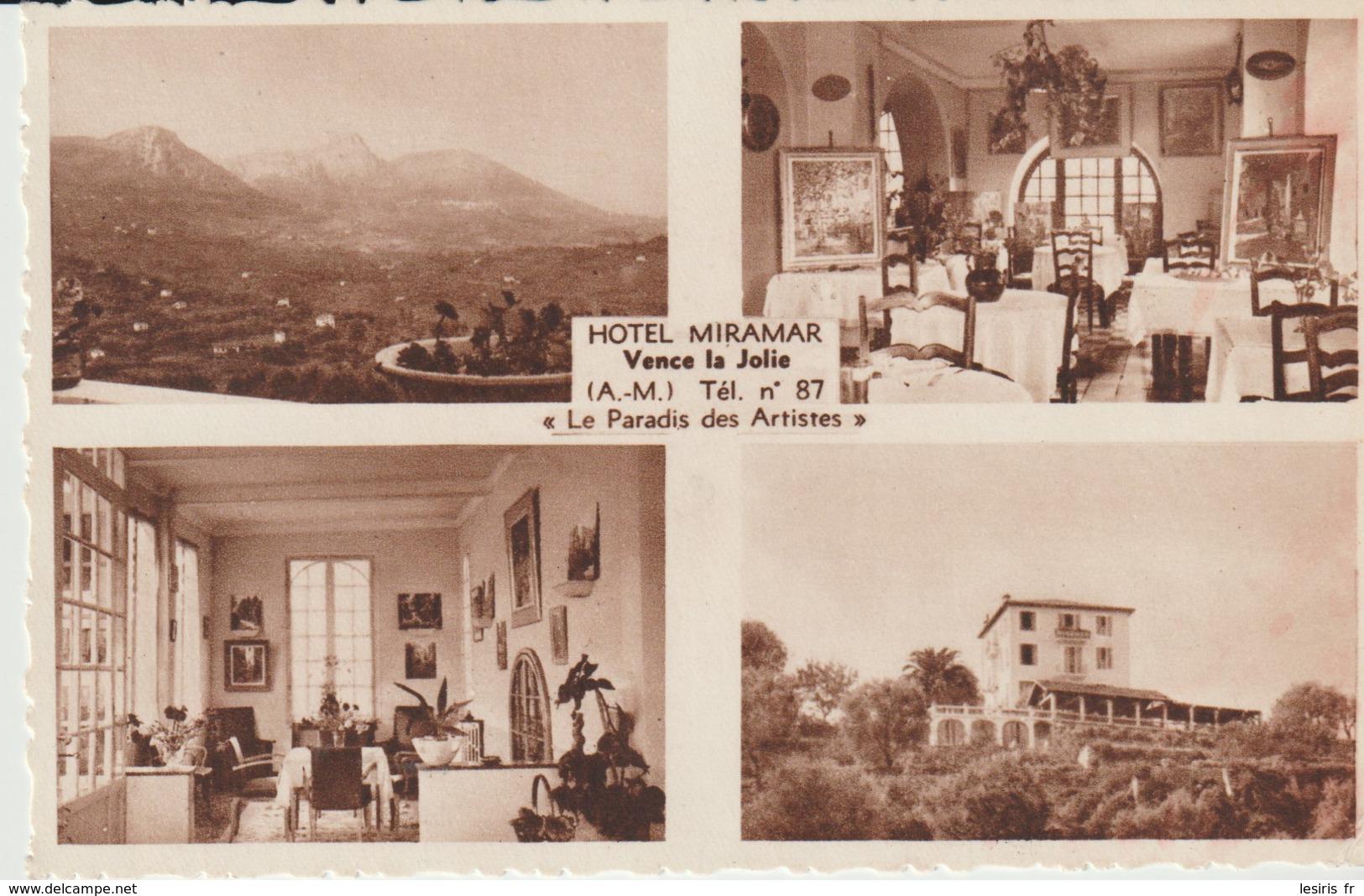 C.P.A. - VENCE LA JOLIE - HOTEL MIRAMAR - 4 VUES -LE PARADIS DES ARTISTES - J. LE MARIGNY - - Vence