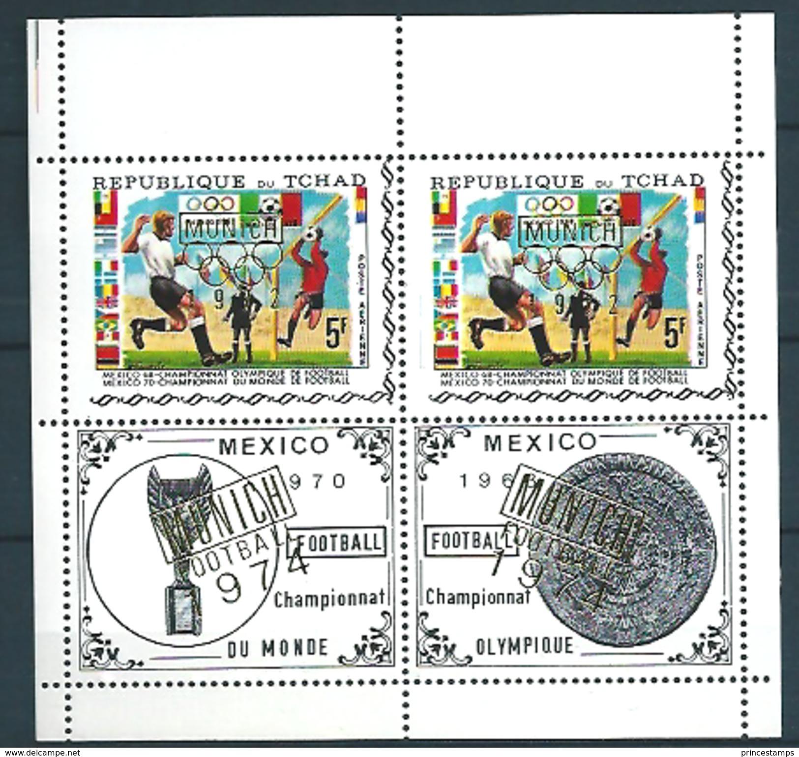 Tchad (1971) Mi. 404 (Pair)  /  Soccer - Calcio - Football - FIFA World Cup Mexico - Olympic Games Munich 1972 - Wereldkampioenschap