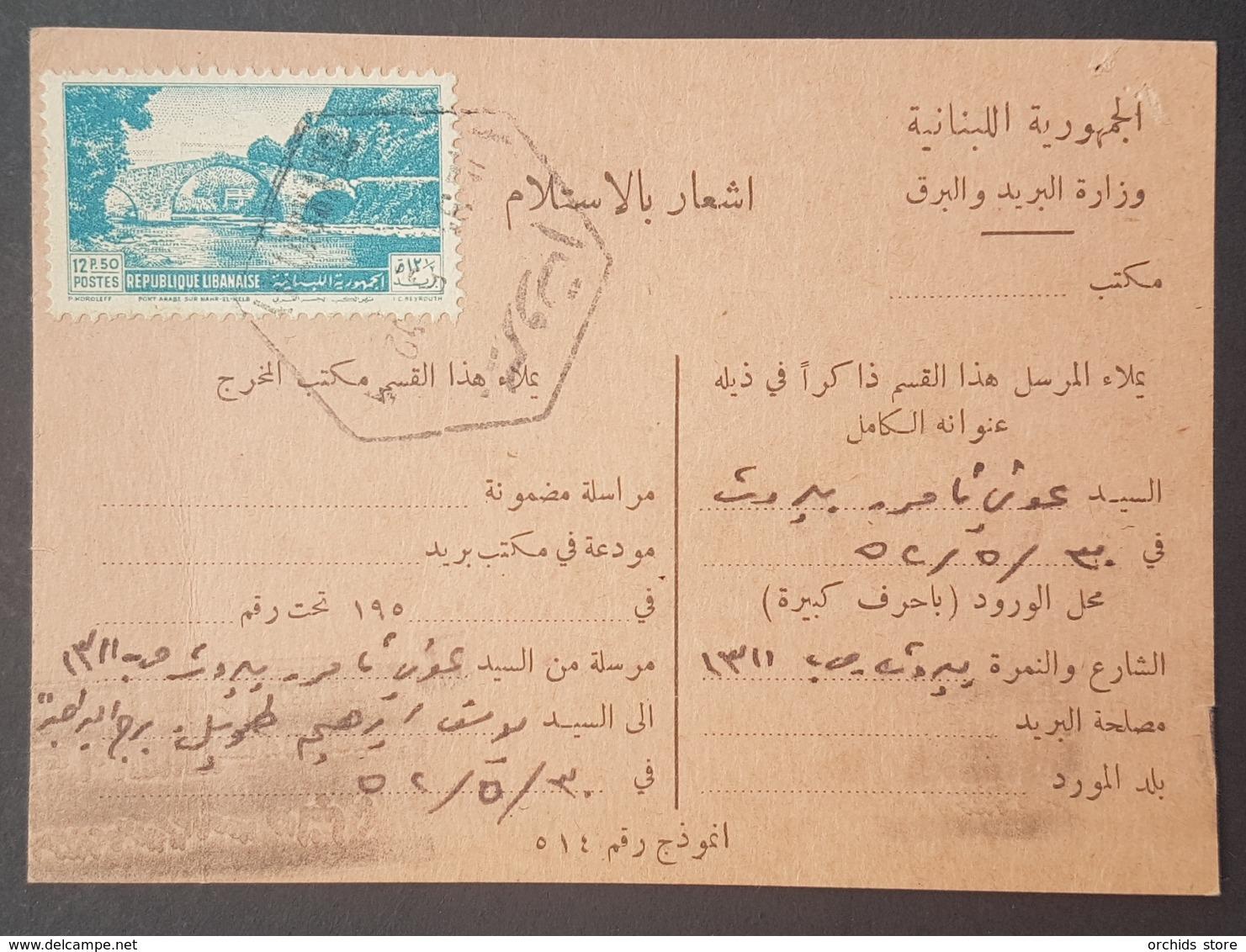 GE Lebanon 1952 Receipt Card With Nice Cancel BOURJ EL BARAJNEH & BEYROUTH 1 Hexagonal & BEYROUTH RP !!! - Lebanon