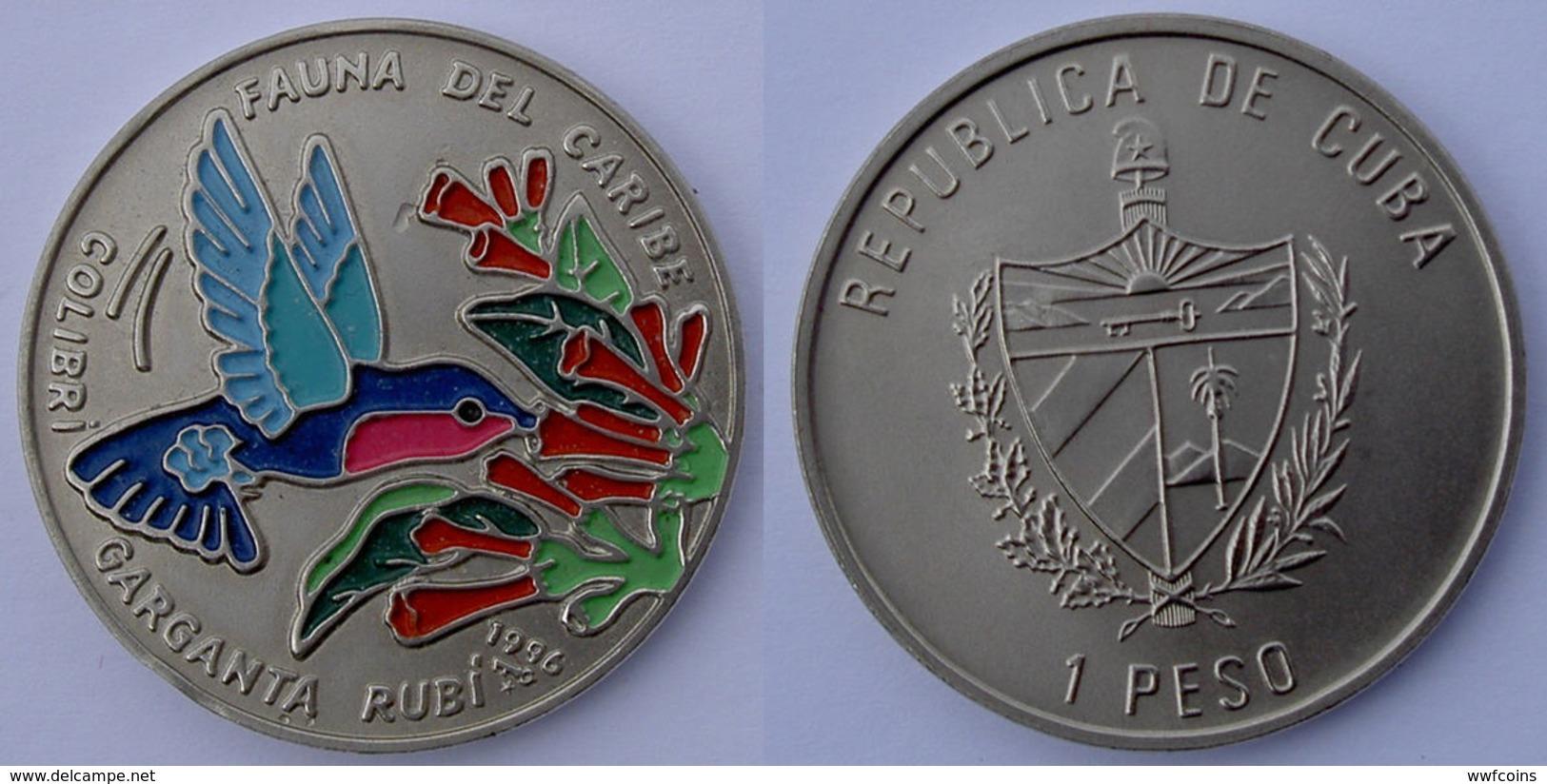 CARIBBEAN STATE 1 P 1996 FAUNA DEL CARIBE COLIBRì GARGANTA RUBI WWF ENDANGERED WILDLIFE BIRD - Cuba