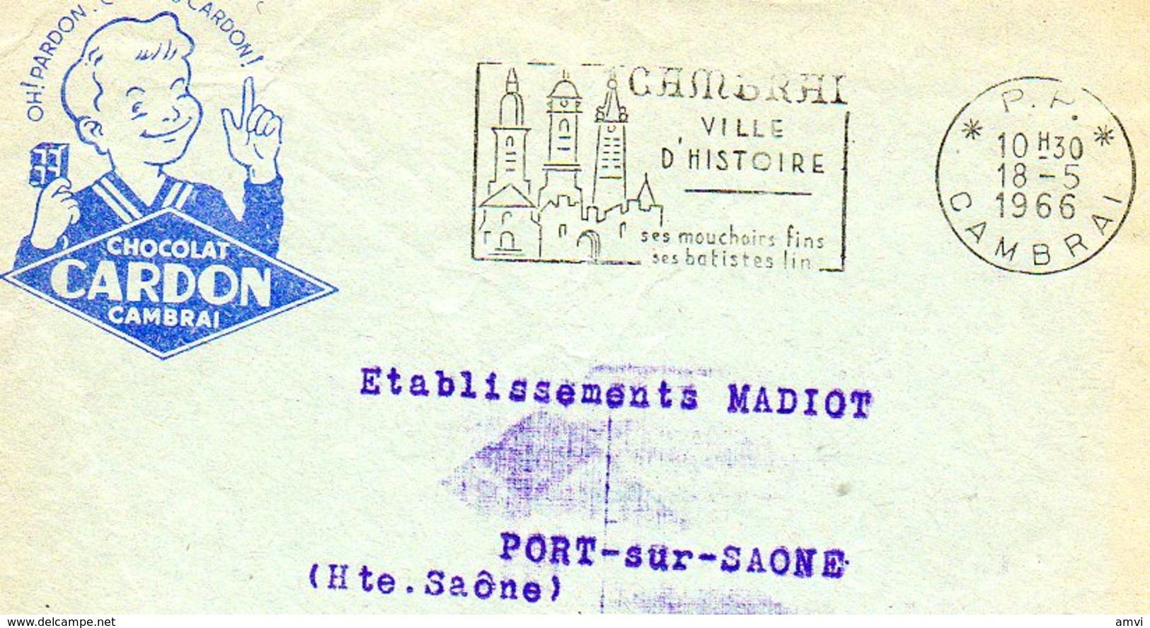 B001 - Devant De Lettre 1966 Cambrai Chocolat CARDON - Cachet Cambrai - Marcophilie (Lettres)