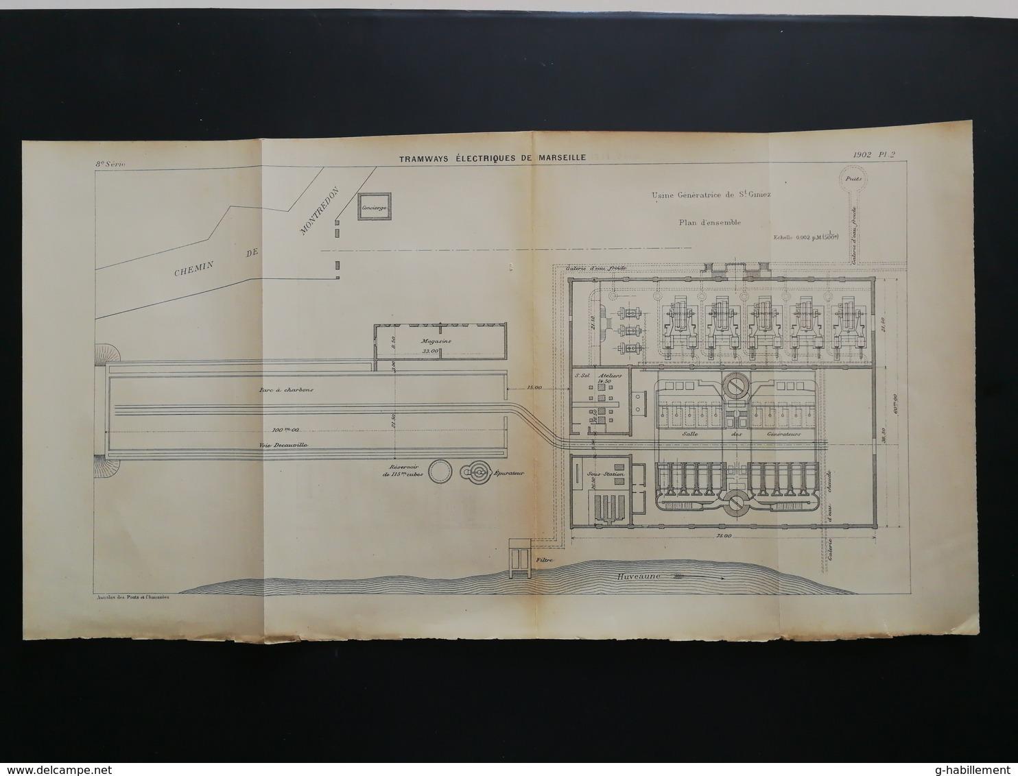ANNALES PONTS Et CHAUSSEES (Dep13)- Plan De Tramways éléctriques De Marseille -1902 (CLC22) - Machines