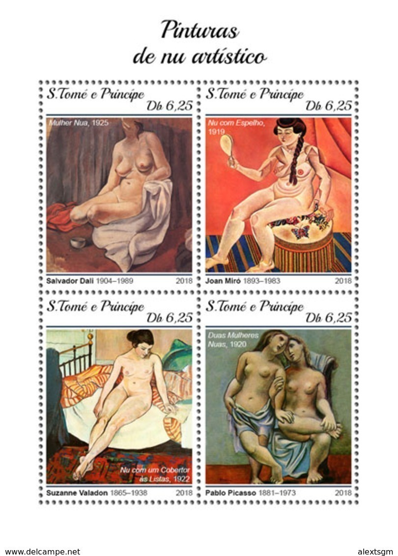 S. TOME & PRINCIPE 2018 - Nudes, Picasso (Small). Official Issue - Picasso