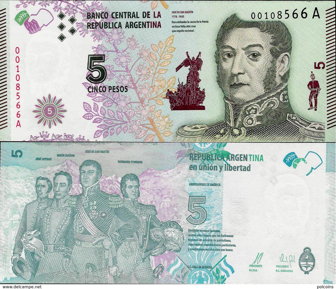 Argentina 2015 - 5 Pesos Pick 359 UNC New Design - Argentine