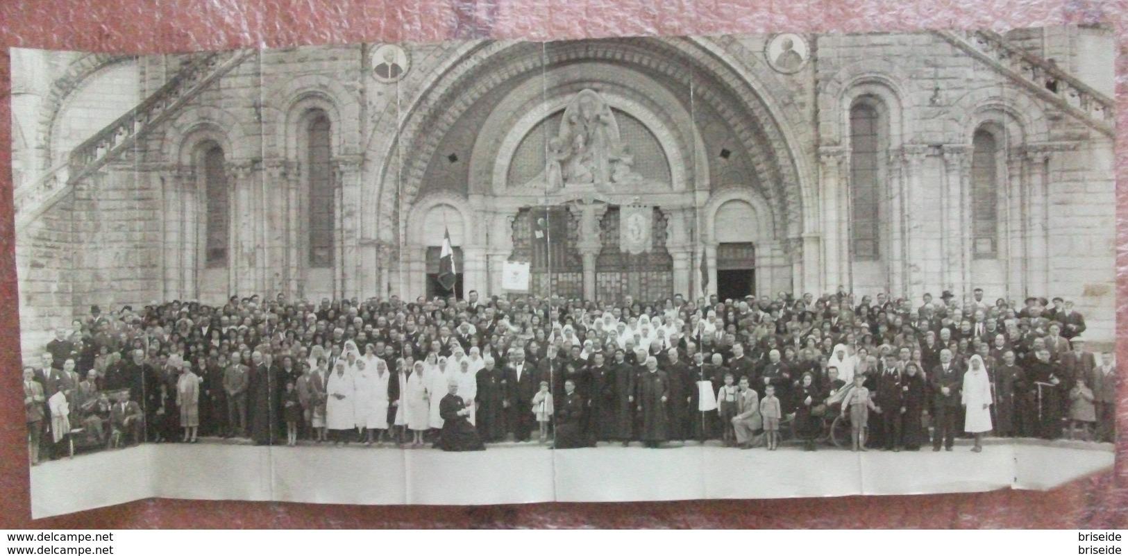 MAXI FOTOGRAFIA CM.58 X 24  BASILICA DEL ROSARIO LOURDES PELLEGRINI DIOCESI DI TRENTO COME DA STENDARDO ANNI '20 - Luoghi