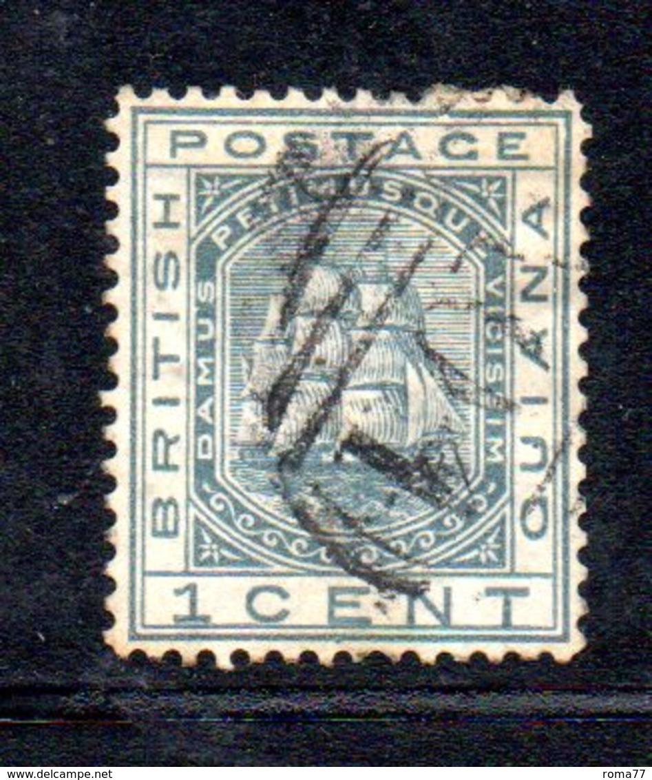 APR359 - BRITISH GUYANA1876 , Yvert  N. 33  Usato. Fil CC - Guyana Britannica (...-1966)