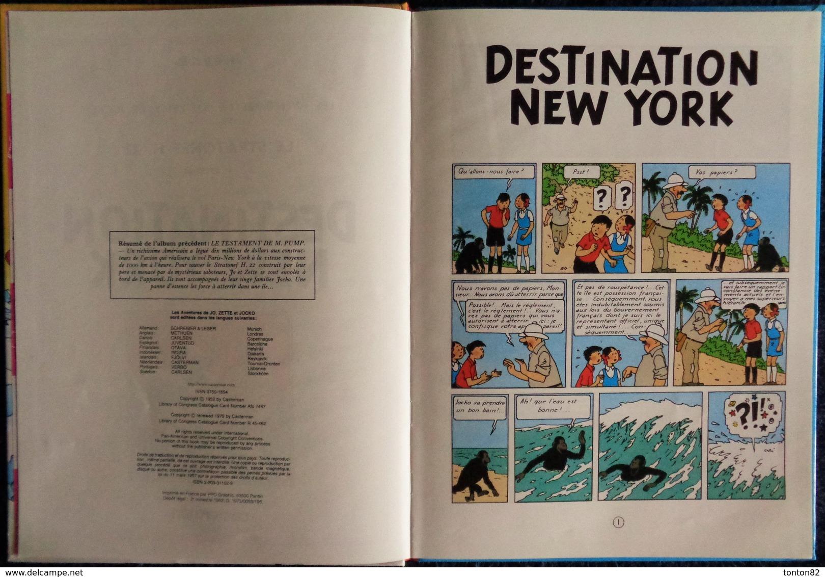 "Hergé - "" Destination New-York "" - Les Aventures De Jo, Zette Et Jocko - Casterman . - Jo, Zette & Jocko"