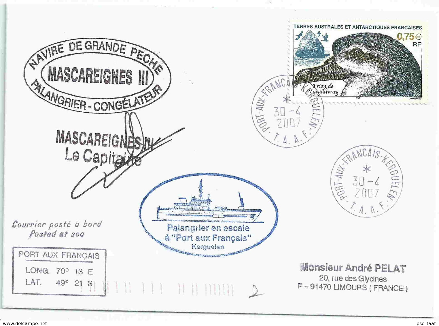 YT 408 - Prion De Macgillivray - Lettre Postée à Bord Du Mascareignes III - Port Aux Français - Kerguelen - Lettres & Documents