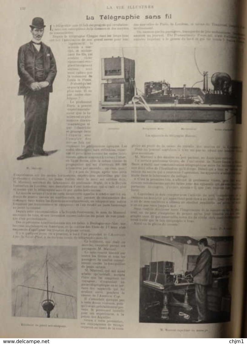 Le Télégraphie Sans Fil - M. Marconi Expédiant Un Message - Page Original 1899 - Documents Historiques