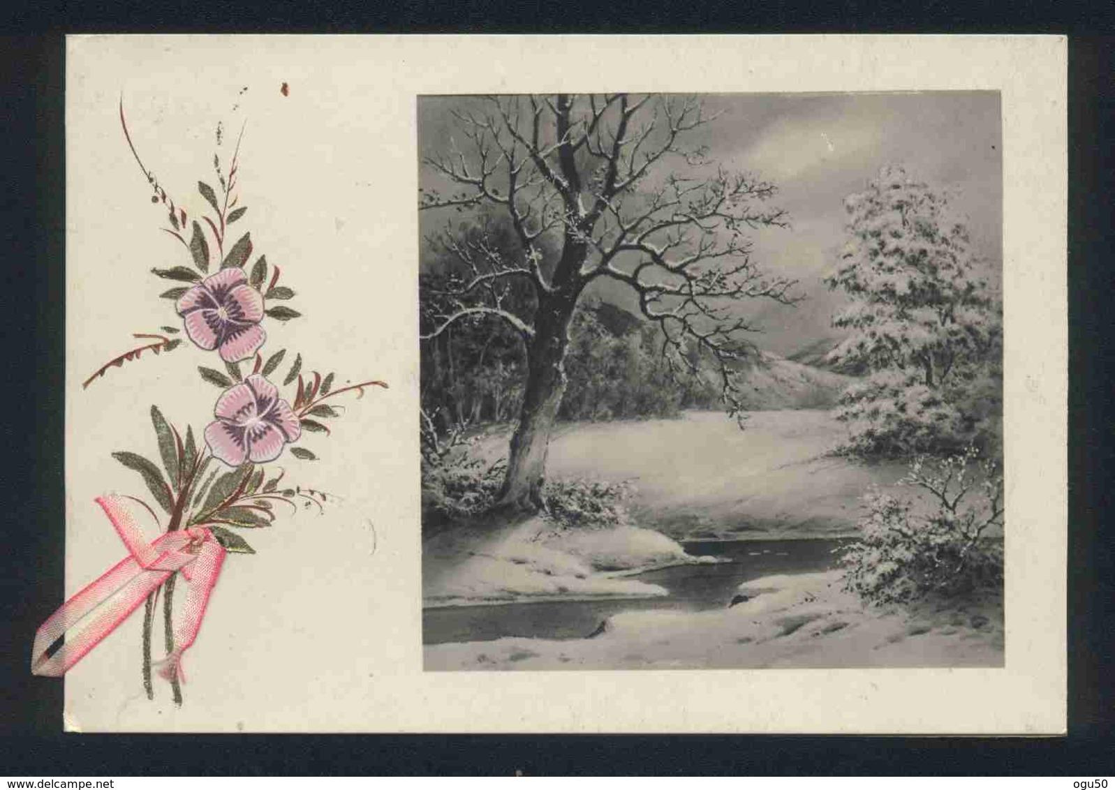 Nouvel An (Fantaisie) - Carte De Bonne Année - Avec Ruban - Fleurs - Vieux Papiers