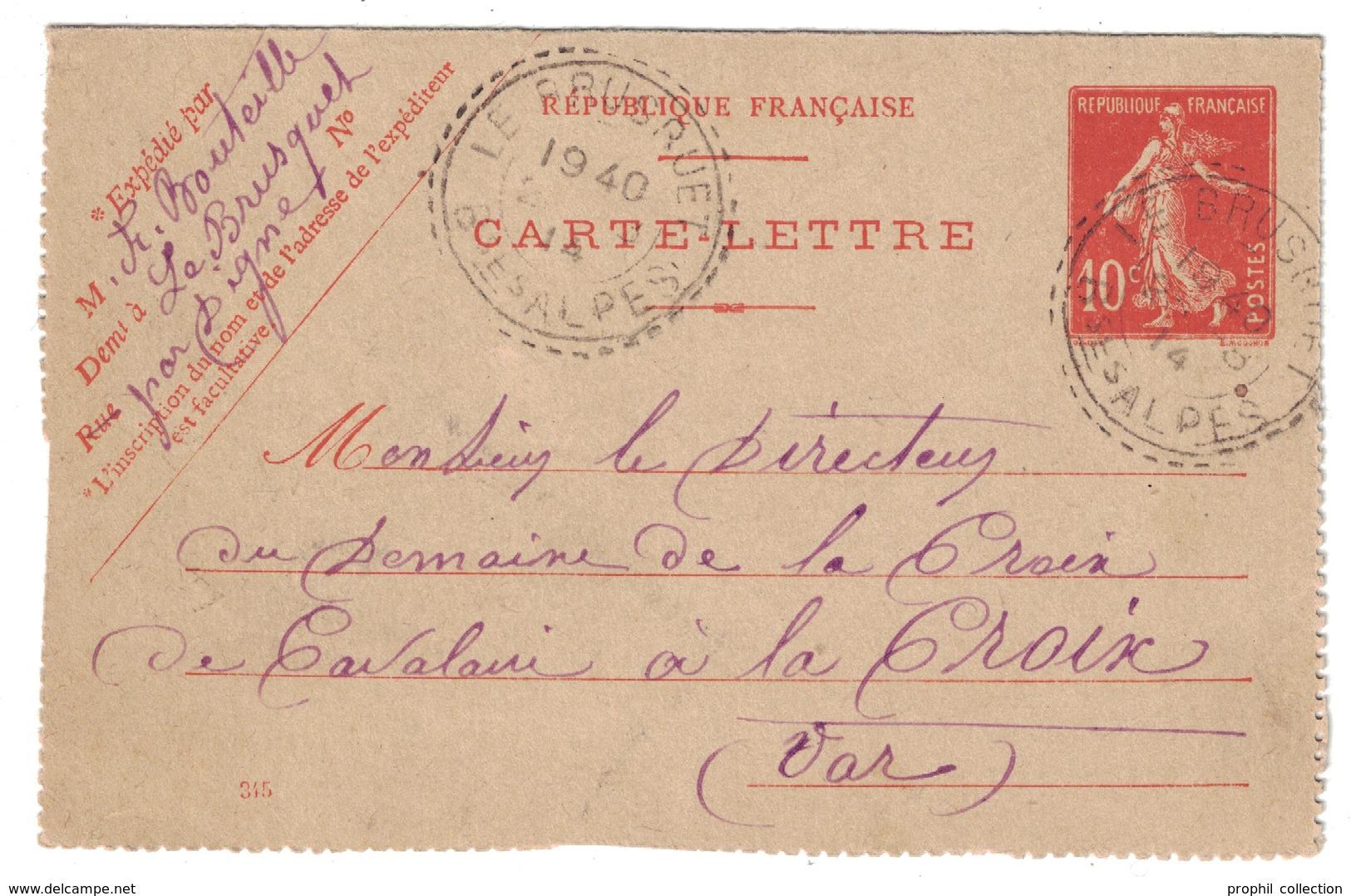 1914 - RARE OBLITERATION CAD TIRETS De FACTEUR-BOITIER De LE BRUSQUET (BASSES ALPES) Sur ENTIER SEMEUSE CARTE LETTRE - Marcophilie (Lettres)