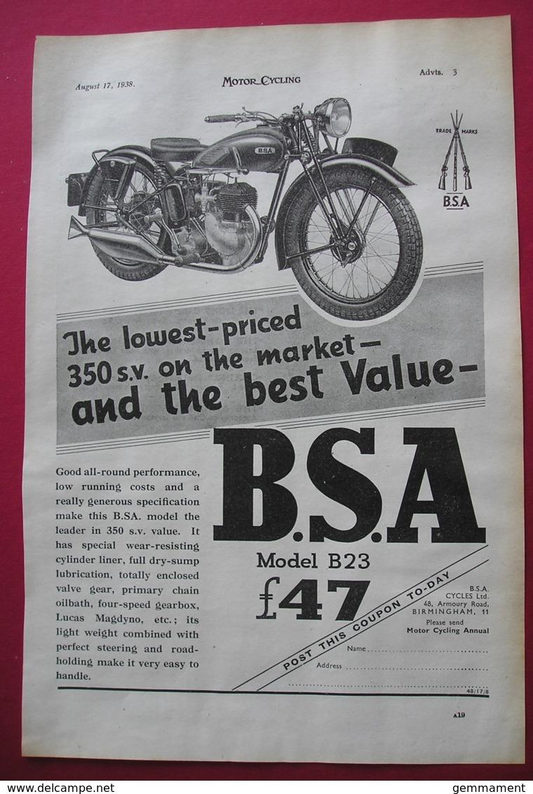 1938  BSA B23 MOTOR CYCLE ORIGINAL MAGAZINE ADVERT - Other