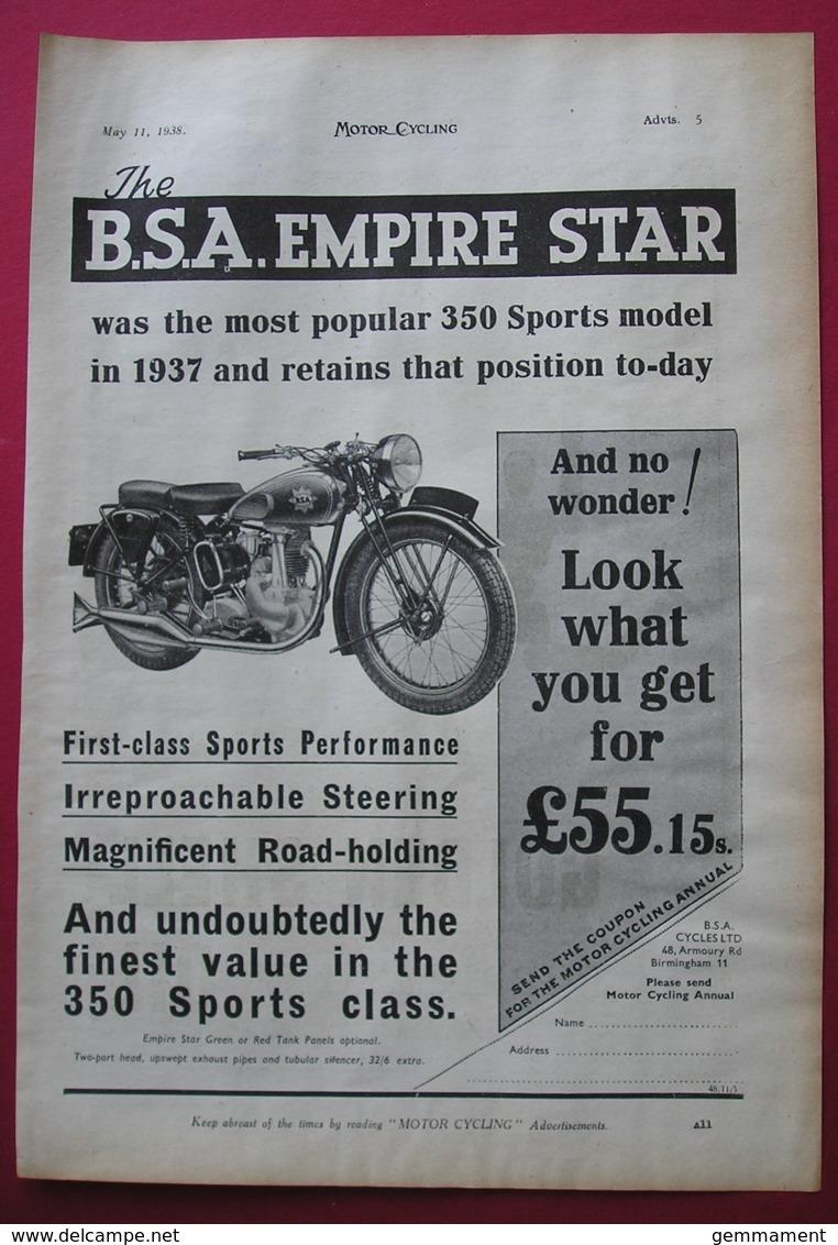 1938  BSA EMPIRE STAR MOTOR CYCLE ORIGINAL MAGAZINE ADVERT - Other