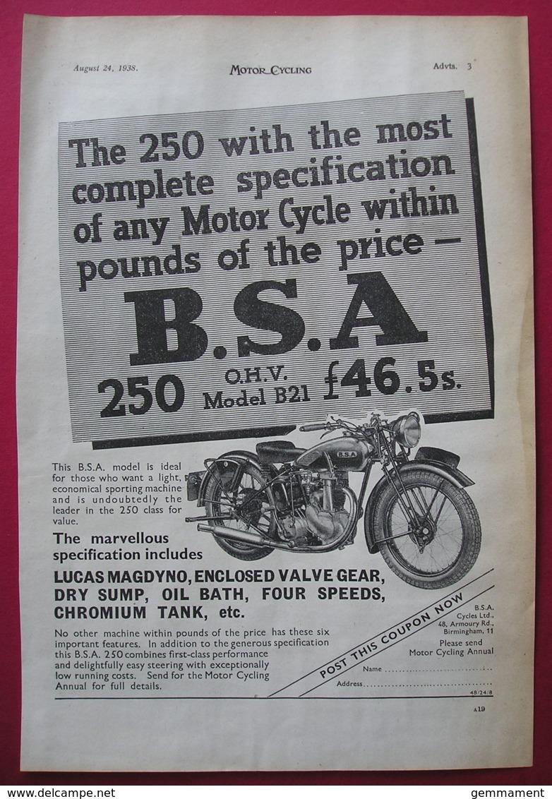1938  BSA 250 O.H.V. MOTOR CYCLE ORIGINAL MAGAZINE ADVERT - Other