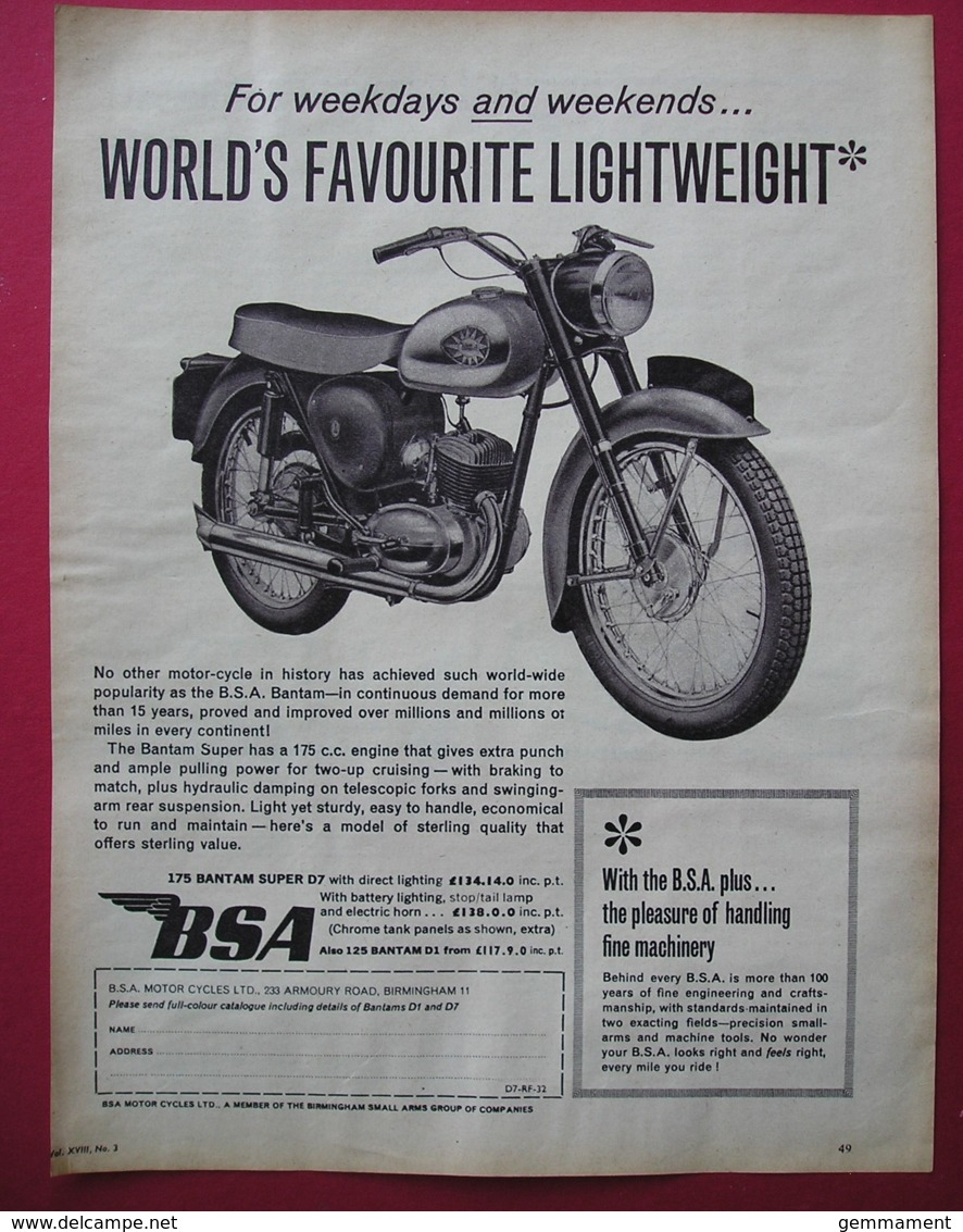 1962 BSA BANTAM MOTOR CYCLE ORIGINAL MAGAZINE ADVERT - Advertising