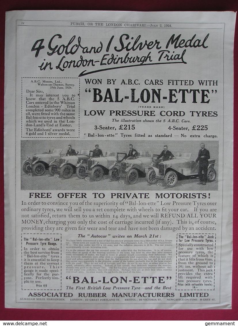 1924  BAL-LON-ETTE CORD TYRES.  ORIGINAL MAGAZINE ADVERT - Advertising