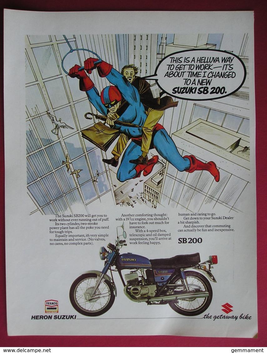 1979 SUZUKI SB200 MOTOR CYCLE.  ORIGINAL MAGAZINE ADVERT - Advertising