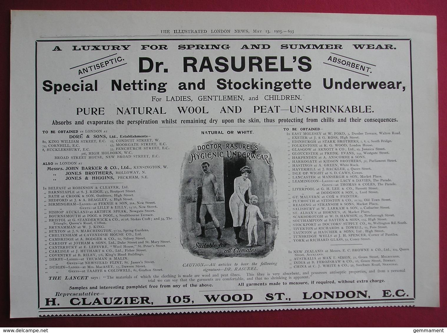 1905  DR RASURELS STOCKINGNETTE UNDERWEAR. ORIGINAL MAGAZINE ADVERT - Advertising