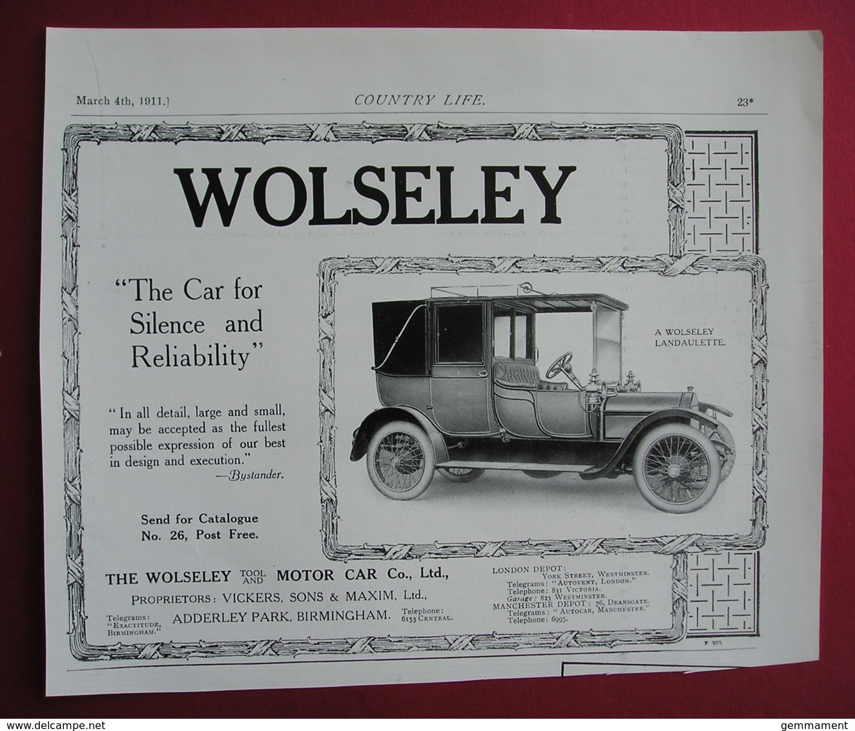 1911  WOLSELEY LANDAULETTE  MOTOR CAR. ORIGINAL MAGAZINE ADVERT - Advertising