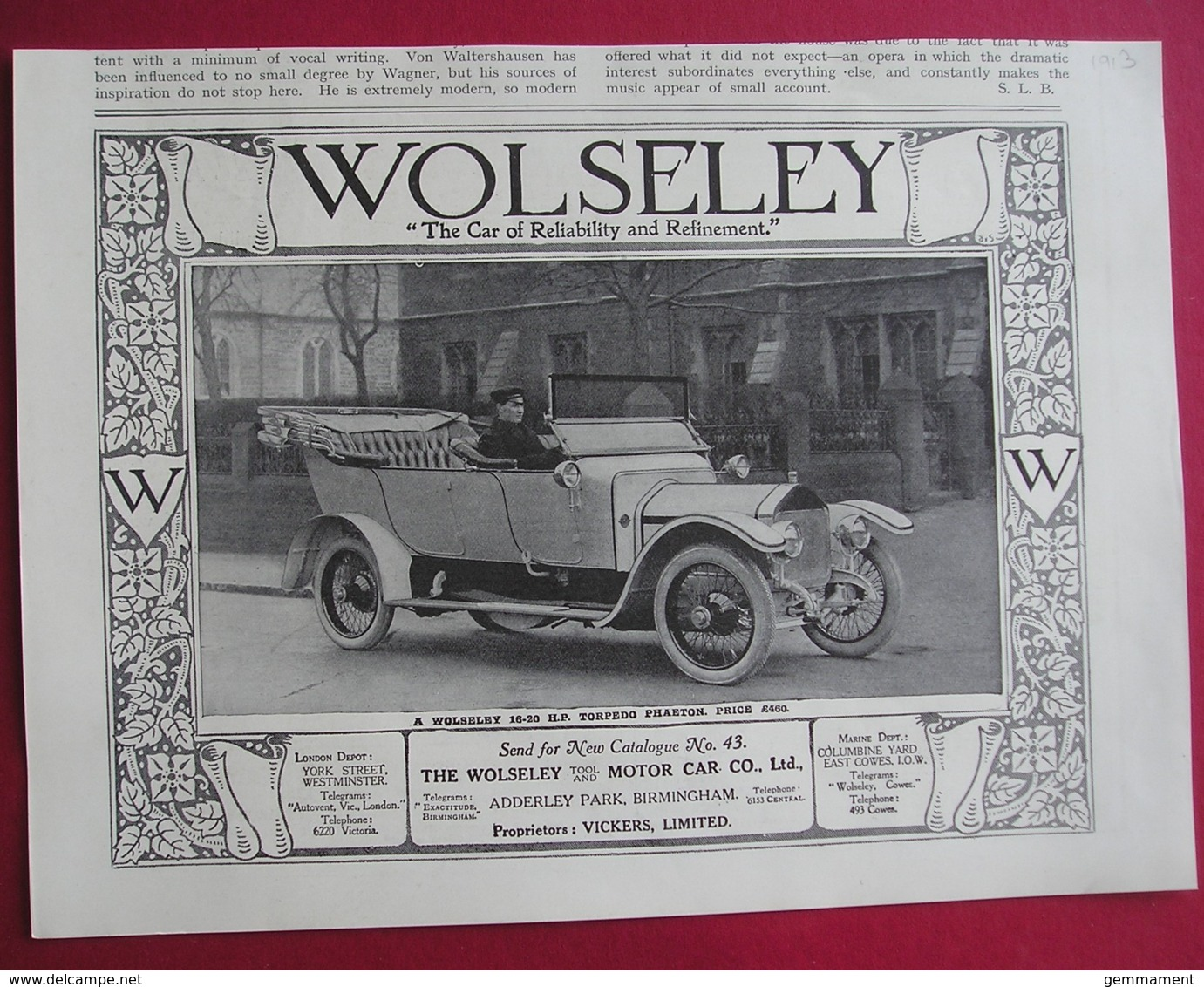 1913 WOLSELEY TORPEDO PHAETON  MOTOR CAR. ORIGINAL MAGAZINE ADVERT - Reklame