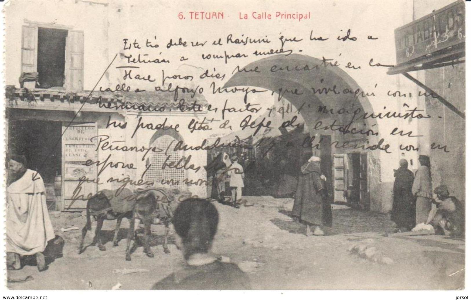 POSTAL   TETUAN  - MARRUECOS  -LA CALLE PRINCIPAL - Marruecos