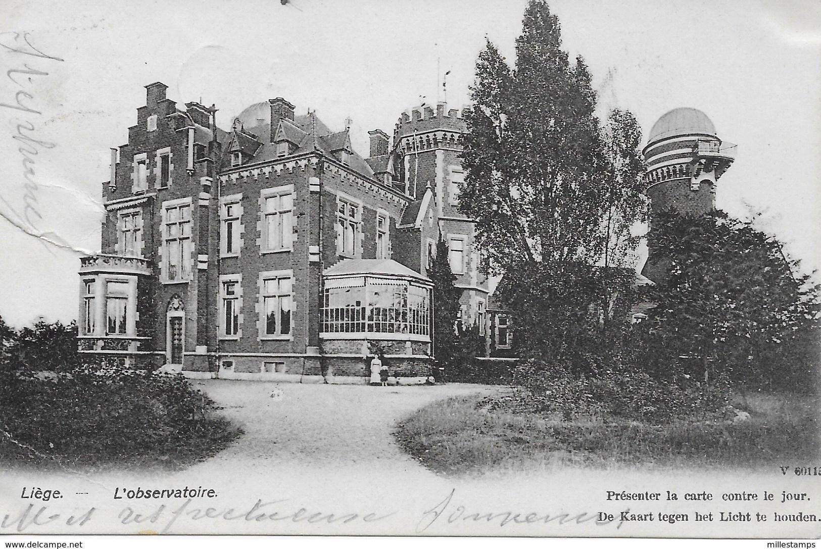 """1 CPA 1906 - L'Observatoire De Liège  - """"carte Spéciale"""", à Présenter Contre Le Jour Changing Colour - Liege"""