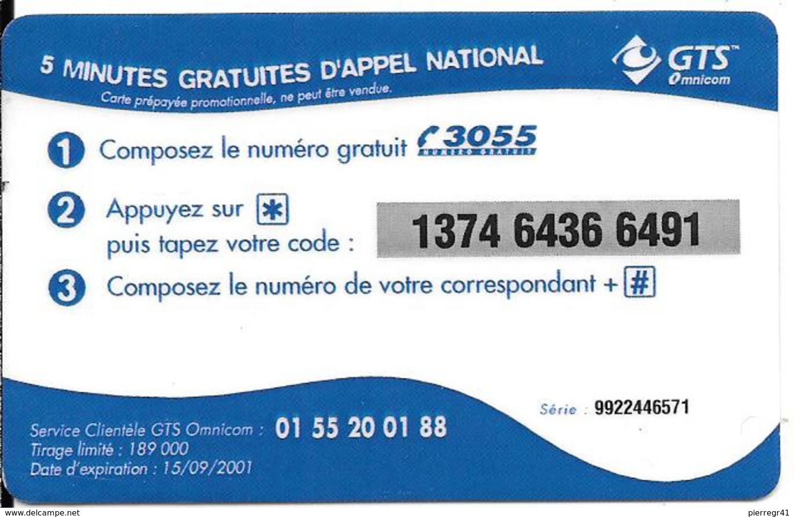 CARTE-PREPAYEE-5MN-OFFERT ES-GTS-OMNICOM-BONBONS MMN-15/09/2001- T B E- - Autres Prépayées