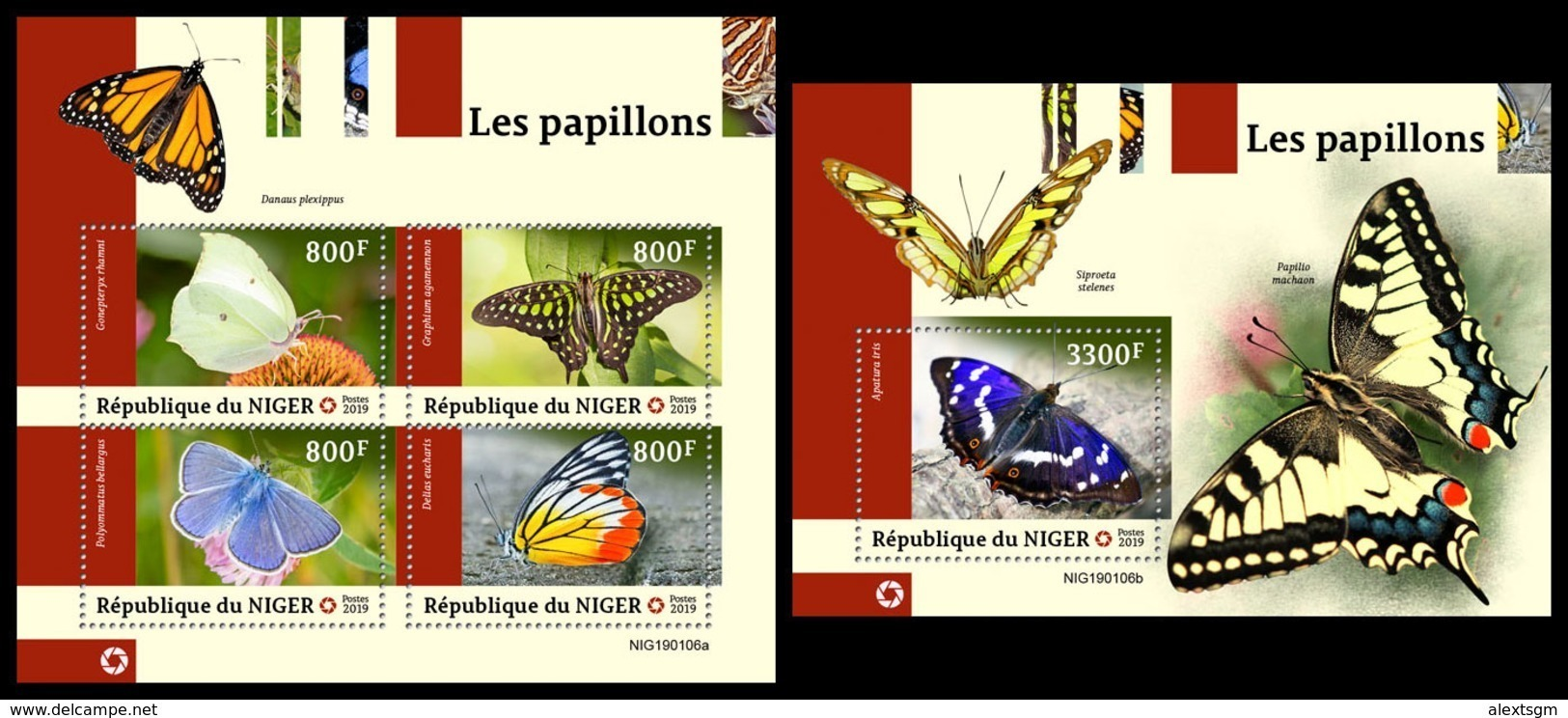 NIGER 2019 - Butterflies, M/S + S/S. Official Issue [NIG190106] - Vlinders