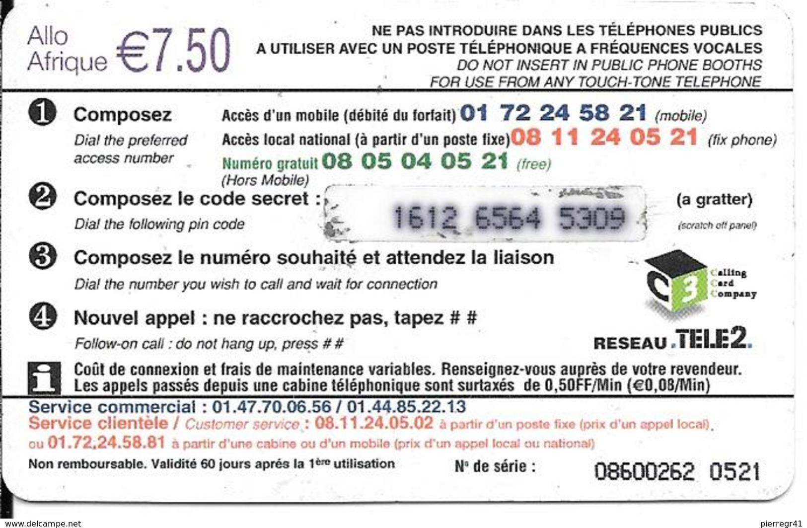 CARTE-PREPAYEE-7.5€-2003-EAGLE TELECOM-ALLO AFRIQUE-SAVANE-Drapeaux Afri Francophone-TBE - Autres Prépayées