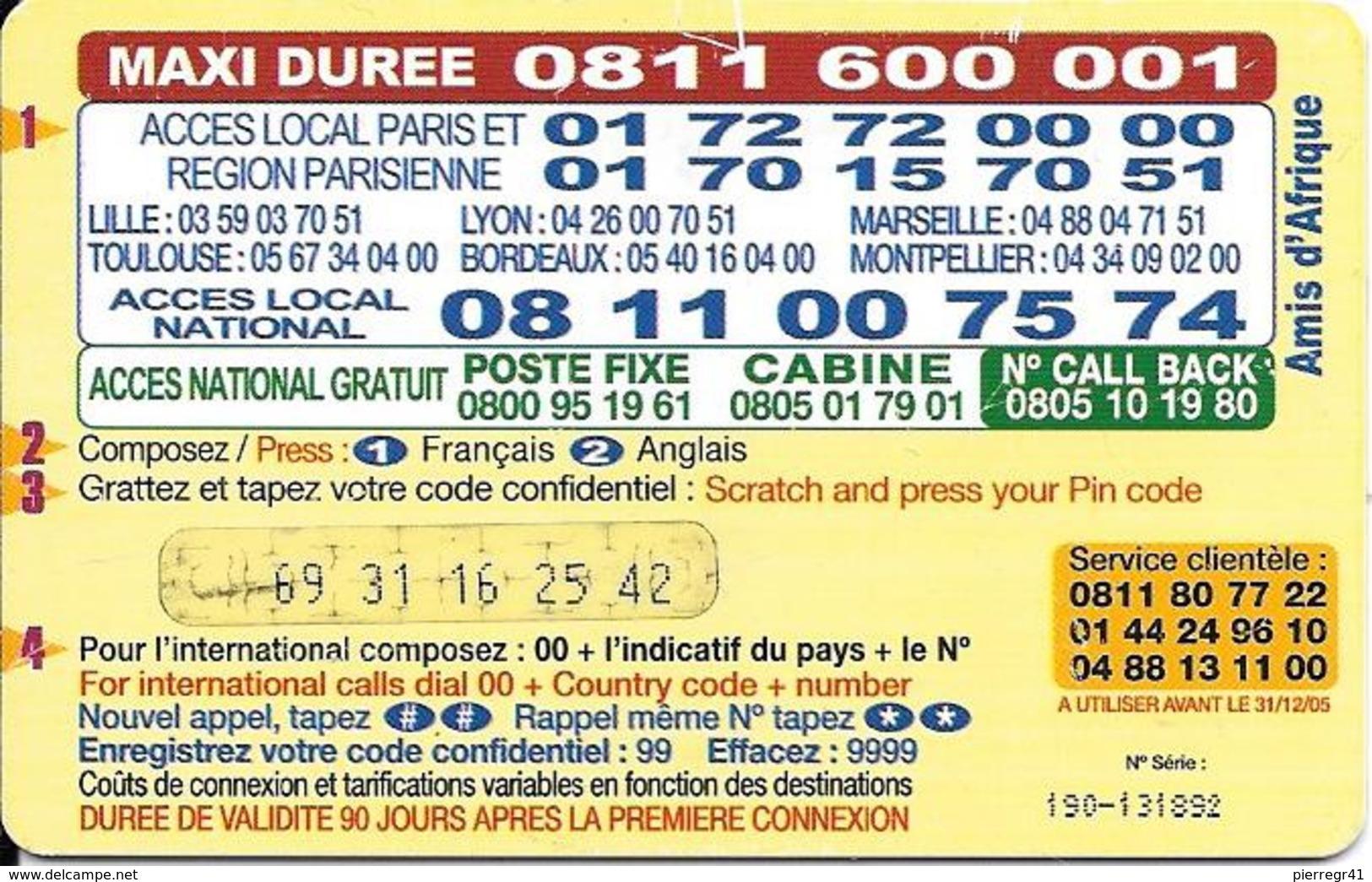 CARTE-PREPAYEE-7.5€-SYMACOM-AMIS D AFRIQUE-31/12/2005- T BE- - Autres Prépayées