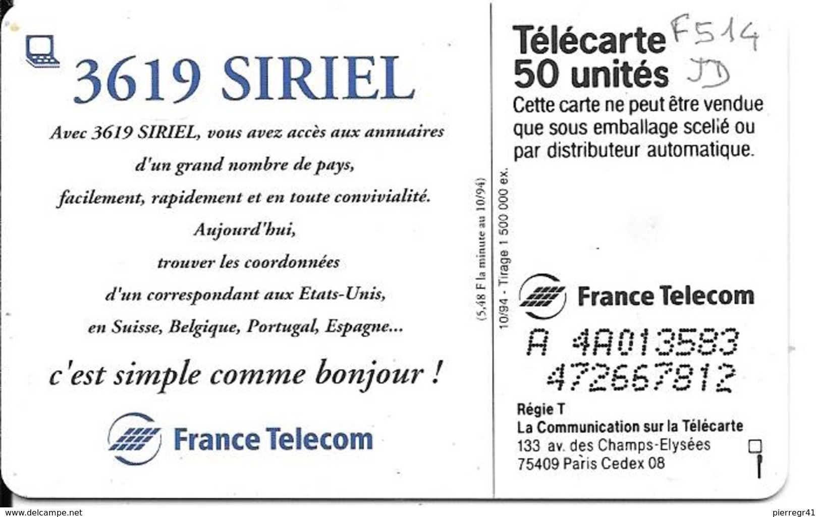 CARTE-PUBLIC-120U-F514.DN.JD-36.19 -3619 SIRIEL-N° Série A 4A013583 UTILISE-TBE- - France